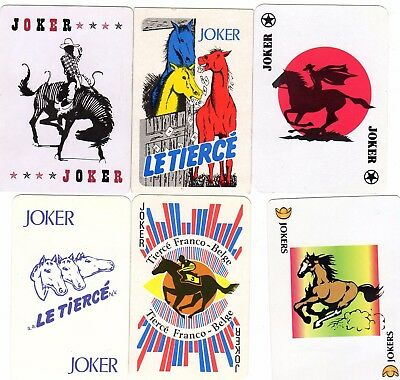 "6 RARE MINT ""Various Horse Related"" JOKER Playing Cards #265"