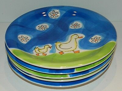 Mila Germany - 5 Hand Painted Children's Plates - Duck Decor
