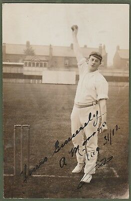 SIGNED ALF MORRIS Durham CCC 1912 RP postcard - Australia / South Africa wickets