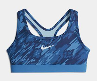 Nike Pro Allover Print Sports Bra Training Medium Support Blue $30 Girls S M L