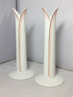 Vintage Pair of Royal Doulton Impressions Reed Candlesticks by Gerald Gulotta