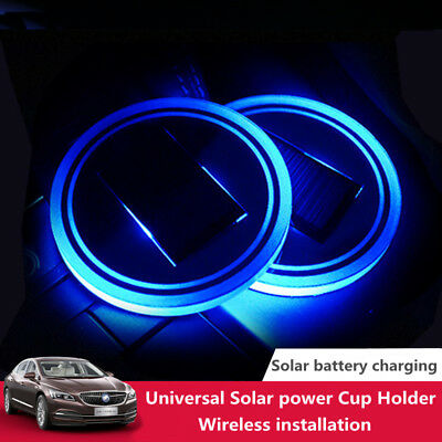 2pcs Solar LED Blue Cup Holder Powered Car SUV Bottom Pad Mat Cover Trim Lamp UK
