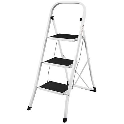 3 Step Ladder Heavy Duty Steel Folding, Portable With Anti-Slip Mat High Quality