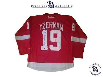 "Steve Yzerman Signed Detroit Red Wings Reebok ""CUP 97,98,02"" LTD Red Jersey"
