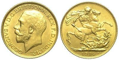 Sterlina 1914 placcata oro 24k
