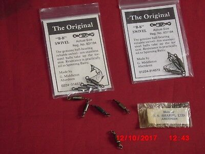 Original B B Swivels , 2 Packs of 3 by G Middleton,1 Sharpes in Packet,5 Loose .