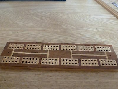 Vintage inlaid wooden Cribbage board