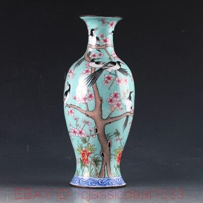 Chinese Cloisonne Handwork Carved Swallow & Peach Blossom Vase W Qianlong Mark