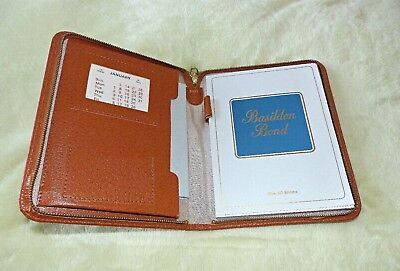 Vintage Basildon Bond Tan Leather Writing Case Set. Nwt