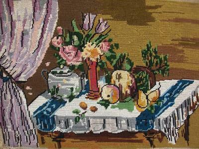 "Vintage completed cotton needlepoint nature still life fruits on a table 13""x9"""