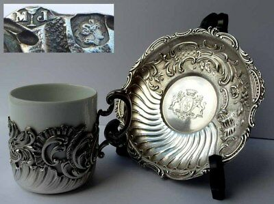 Coffee Cup+Saucer,Rococo,France Paris, Adel Crest, Silver G836