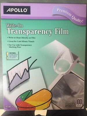 Apollo Write-On Transparency Film, 8.5 x 11 Inches, Clear, 100 Sheets per Box