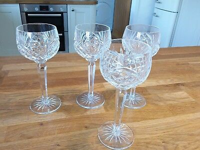 Unmarked tall stem crystal wine glasses.  7.25inch high.