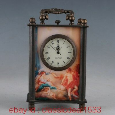 Vintage Collectible Old Chinese Brass Handwork Mechanincal Globe Clock PA1166