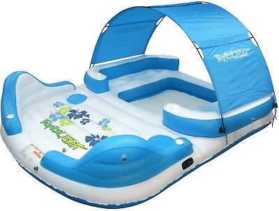 6 Person Tropical Tahiti Canopy Floating Island Large Inflatable Lake Raft