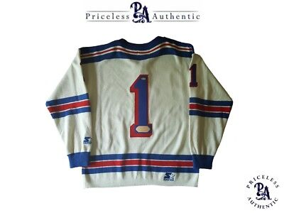 VERY RARE Jacques Plante SIGNED New York Rangers Vintage White Wool Jersey