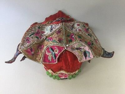 Old Chinese Child's Silk Embroidered Hat with Beads of 8 Immortals