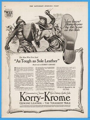 1918 Korry Krome Genuine Leather Shoe Soles Howard Co Corry PA Gladiator Art Ad
