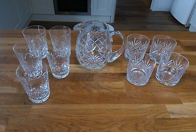 Collection of heavy crystal glasses, x2 sets plus a lovely water jug 6 inch.