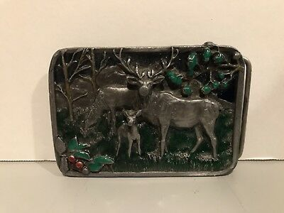 Men's Vintage 1982 Siskiyou Elk Deer Belt Buckle ONE OF A KIND EXTREMELY RARE!