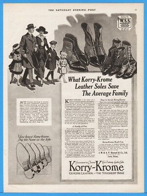 1918 Korry Krome Genuine Leather Shoe Soles Howard Co Corry PA Lace Up Ad