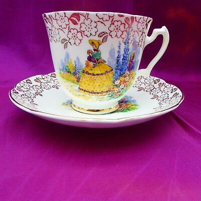 Vintage Cup & Saucer Old English Bone China Cottage Garden With Crinoline Lady