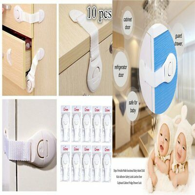 10 PCS Children Baby Infant Kids Drawer Door Locks Cabinet Safety Adhesive Locks