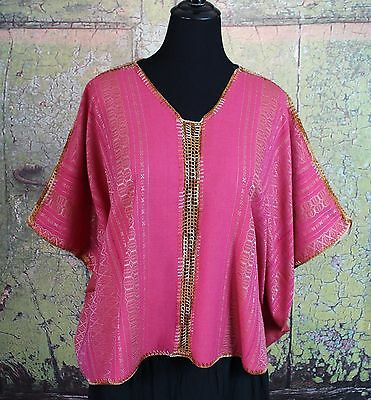 Pink & Gold Relaxed Poncho Mitla Oaxaca Huipil Hand woven Mexico Hippie Boho