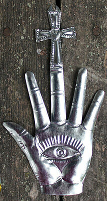 Mexican Tin Milagros - SOLD SEPERATELY - Gloved Hands, Hearts, Eyes & Cross