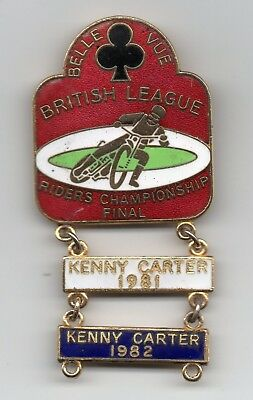 A 1981 Belle Vue British Speedway Championship Final Pin Badge With Kenny Carter