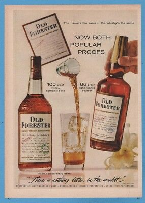 1960 Old Forester Straight Bourbon Whiskey Brown Forman Louisville KY Print Ad