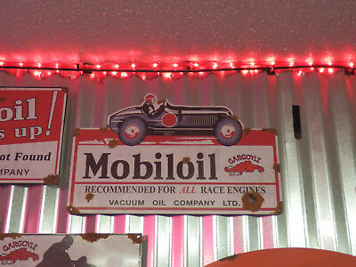 Old style-porcelain look Mobiloil gargoyle dealer sales service large sign NICE
