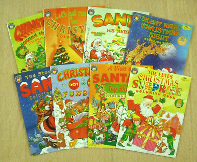 Lot Of 8 Christmas Color/activity Book - 24 Pages - New      #zpla-326
