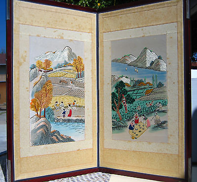 "Antique Korean Hand Embroidered 2 Panel Folding Screen:22.5""L x 25""W(57 x 64 CM)"