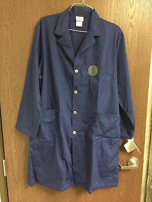 New With Tags XL Navy Blue META Lab Coat White Swan Brand