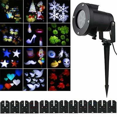 Waterproof projector rotating landscape led 12 pattern for Projecteur led exterieur noel