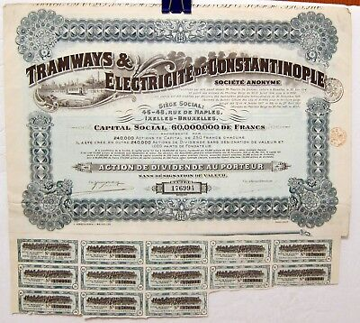 Tramways & Electricite de Constantinople Bond Certificate with Coupons