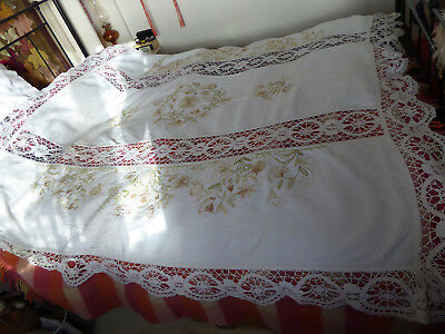 Antique lace and embroidered bedspread