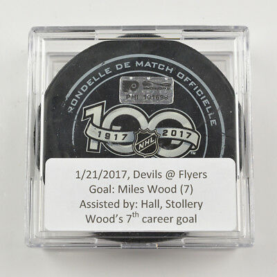 2016-17 Miles Wood New Jersey Devils Game-Used Goal-Scored Puck -Hall Assist