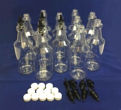 NEW (12) Empty 1 Quart (32 oz) Clear Plastic Bottles With Pour Spouts & Caps