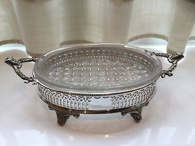 Superb Antique Victorian Silver Plated And Glass Butter Dish Circa 1872