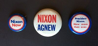 VINTAGE Set Of 3 NIXON AGNEW Collectible Presidential CAMPAIGN PINS Pin