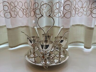 Beautiful Antique Barker Brothers Silver Plated Egg Cup Holder And Spoons