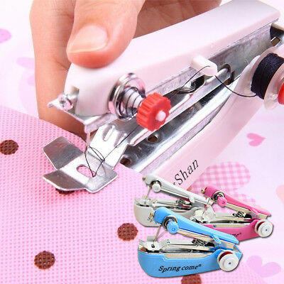 Portable Needlework Cordless Mini Hand-Held Clothes Fabrics Sewing Machine Red