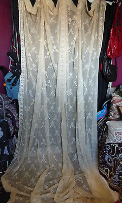 Antique/vintage pair long lace curtains (not nylon) as found A