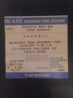 Ticket: Oldham Athletic Vs Arsenal 22/11/1989 League Cup