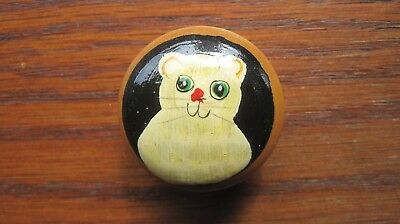 Cat Trinket Box, Hand Painted, Wooden, From English Estate Sale
