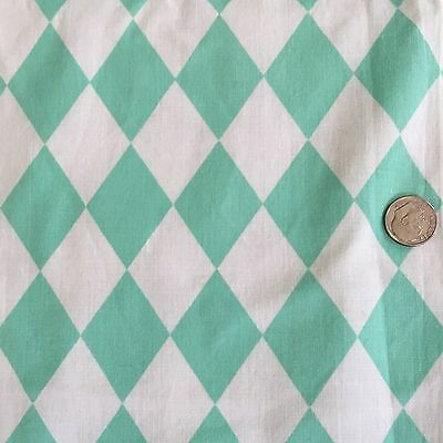 Vintage 50s 60s Cotton Harlequin Fabric Aqua 35W Geometric Midcentury Diamond
