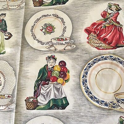 Vintage 1950s Royal Doulton Cotton Fabric Riverdale Figurines Barkcloth Era