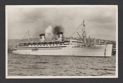 Home Lines ss ATLANTIC sailing from Genoa in 1949 ... (built 1927 as Malolo)